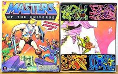 A Masters of the Universe Colorforms toy, featuring heroes and villains from the line in dynamic poses that could be moved around on the semi-adhesive background