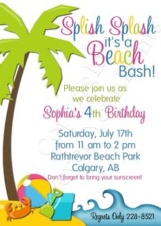 beach themed kids birthday party | party birthday invitation, beach party birthday invite, beach theme ...