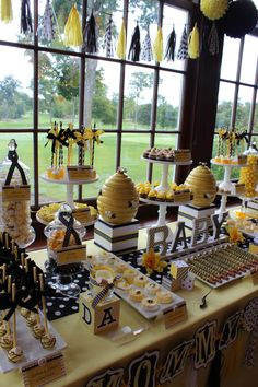 """Sweet Simplicity Bakery: Bumblebee Baby Shower """"Mommy To Bee"""" Themed Dessert, Candy & Chocolate Display Buffet Table Sweet dessert set up! Perfect for a honeybee themed baby shower. Fiesta Baby Shower, Baby Shower Table, Shower Party, Baby Shower Parties, Baby Shower Themes, Baby Boy Shower, Shower Ideas, Baby Shower Yellow, Shower Games"""
