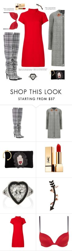 """""""Every Man Crazy about a Sharp Dressed Girl'"""" by dianefantasy ❤ liked on Polyvore featuring Off-White, Ermanno Scervino, RED Valentino, Yves Saint Laurent, Wild Hearts, Courrèges, Tommy Hilfiger, polyvorecommunity, polyvoreeditorial and sweaterdress"""