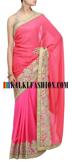 Buy Online from the link below. We ship worldwide (Free Shipping over US$100) http://www.kalkifashion.com/shaded-saree-in-pink-and-peach-with-embroidered-border.html Shaded saree in pink and peach with embroidered border