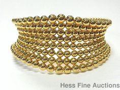 18k Gold Boucheron Paris 44.2gram Designer Numbered Beaded Wide Flex Bracelet #Boucheron #CuffStatement