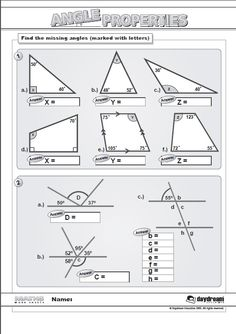 Our Maths Worksheets are a great addition to your lessons as handouts or homework. Here is Angle Properties which is free to download at www.daydreameducation.co.uk