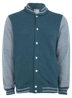 Green Marl Baseball Jersey Jacket