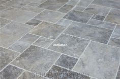 Silver Travertine French Pattern, Silver Grey from Turkey, Stocked in USA Patio Tiles, Outdoor Tiles, Outdoor Areas, Outdoor Pool, Versailles Pattern, French Pattern, Travertine Floors, Kitchen Flooring, Deck Flooring