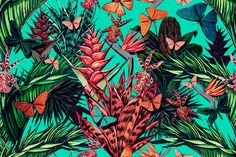 Beautiful vintage seamless floral jungle background on Behance