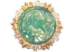 Vendome Oriental Faux Jade Brooch Pin Phoenix Bird Vintage Signed 50s