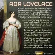 """""""Who is Ada Lovelace? English mathematician Ada Lovelace is widely considered the world's first Computer Programmer. I Look To You, The More You Know, Ada Lovelace, Badass Women, Interesting History, Interesting Facts, Faith In Humanity, History Facts, Funny History"""