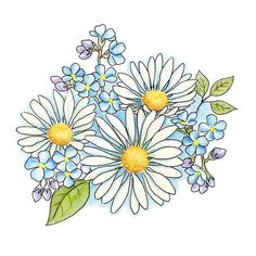 Daisy Drawing, Simple Flower Drawing, Carnation Tattoo, Bouquet Tattoo, Tattoo Outline, Celtic Tattoos, Flower Doodles, Unique Tattoos, Flower Tattoos