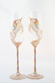 Long Tail Unicorn Crystal Champagne Flutes by ToastedGlass on Etsy