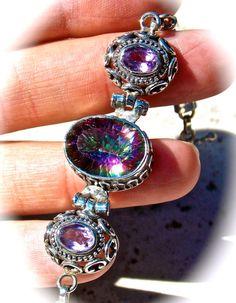 Amazing Mystic Topaz Bracelet .925 Sterling Silver Khaleesi, Mystic Topaz, Most Favorite, Bling, Wedding Ideas, Sterling Silver, Trending Outfits, Stone, My Style