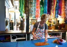 Robbin Firth doing a felting demonstration in her HeartFelt Silks Studio at the SEASONS Gallery in Hudson, WI