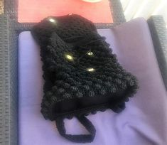 Crochet backpack Bobble Stitch made of polyester cord yarn in black color. Backpack sizes cm, height 35 cm, 60 cm long strap or inches. Crochet Shoulder Bags, Crochet Backpack, Bobble Stitch, Macrame Cord, Crochet Woman, Cotton Bag, Beautiful Bags, Pink Purple, Purses And Bags