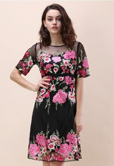 7cfad5ff72a Serenade of Spring Embroidered Mesh Dress in Black Fashion Now