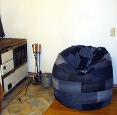 Old jeans into bean bag (inspiring)