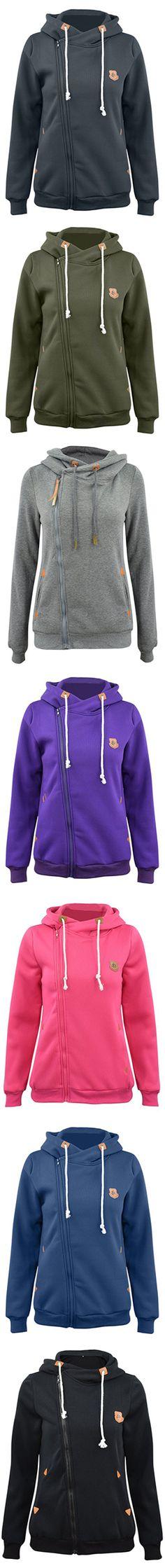 Fashion Turtleneck Oblique Zip Drawstring Hooded Sweatshirt