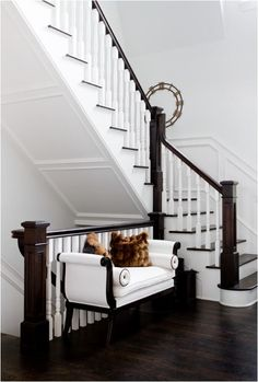 House of the Moment - Centsational Girl dark stained wood and white entry~ LOVE