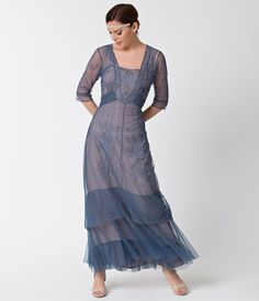 1930s Style Day Dresses Vintage Style Azure Blue  Tan Half Sleeve Mesh Edwardian Dress $252.00 AT vintagedancer.com