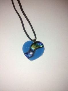 Necklase. Blue heart, glass - with dichroglass.