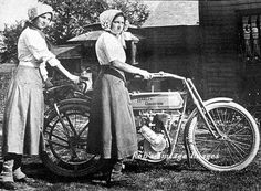 Two girls with Harley Davidson Motorcycle Vintage photo Print 1910