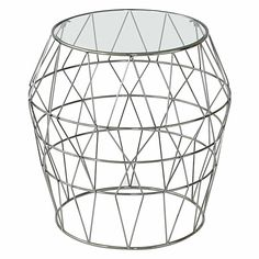 Delight in the prismatic form and dazzling silver hue of the gorgeous Webster Side Table from Amalfi.
