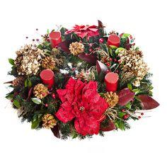 Corona de Adviento con Nochebuenas y Hortensias / Poinsettias and Hydrangeas Advent Wreath #Christmas2012 #AdventWreath
