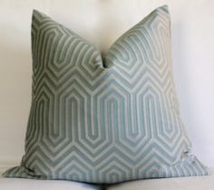 20x20 Pillow 18x18 Geometric Blue And Taupe