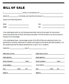 printable bill of sale for trailer