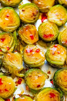 Roasted Brussels Spouts {Two Ways In One} - An EASY way to try TWO different versions of Brussels Sprouts in one! There's Sweet and Spicy Sprouts AND Traditional Roasted Sprouts! Spicy Brussels Sprouts Recipe, Freezing Brussel Sprouts, Balsamic Brussel Sprouts, Cooking Brussel Sprouts, Roasted Sprouts, Side Recipes, Veggie Recipes, Brussel Spouts, Tummy Yummy