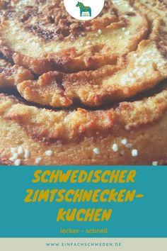 Zimtschnecken sind super lecker, manchmal aber auch ziemlich aufwendig. Mit diesem Kuchen bekommst Du den Geschmack einer schwedischen Zimtschnecke, aber die Zubereitung geht viel schneller. Dieser Kuchen aus Schweden ist eine Art Kladdkaka, der ein etwas weicheres Innere hat.#einfachschweden #zimtschnecke #kanelbulle #kladdkaka Fika, Super, French Toast, Snacks, Breakfast, Cinnamon Roll Cakes, Swedish Recipes, Simple, Nordic Kitchen