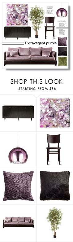 """Extravagant purple"" by mariarty on Polyvore featuring interior, interiors, interior design, home, home decor, interior decorating, Worlds Away, Oliver Gal Artist Co., Nearly Natural and Rizzy Home"