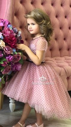 Flower girl dress for a wedding, birthday or any special day. Luxury pageant dresses by Alexandrina. Baby Girl Party Dresses, Cute Girl Dresses, Birthday Dresses, Little Girl Dresses, Baby Dress, Flower Girl Dresses, Little Girl Fashion, Kids Fashion, Mother Daughter Fashion