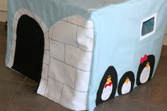 Arctic Igloo Felt Card Table Fort Playhouse - I might have to try that!