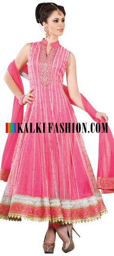 Buy Online from the link below. We ship worldwide (Free Shipping over US$100) http://www.kalkifashion.com/pink-anarkali-suit-with-embroidery.html Pink anarkali suit with embroidery