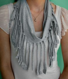 DIY fringe scarf made with and old t-shirt. Easy, no sewing involved.