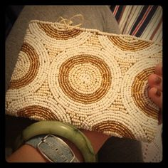 DROP! Hand beaded abstract coin clutch Handmade in Bali from beautiful gold and cream seed beads gorgeous abstract coin purse. Zip top, cute clutch is perfect for all occasions. Happy shopping! handmade Bags Clutches & Wristlets