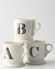 """""""Monogrammed mugs- just in time for fall to begin! Get them here: http://www.bhg.com/shop/anthropologie-monogrammed-mug-p4df105289617cafe152bec6c.html?mz=a"""""""