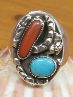 VINTAGE SOUTHWESTERN TRIBAL STERLING SILVER TURQUOISE RED CORAL MAN'S RING