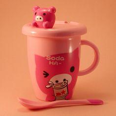 Plastic Piggy Mug with Lid & Spoon Set