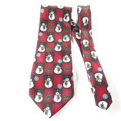 Hallmark Snowman Tie Christmas Trees Candy Canes Snow Flakes Yule Tie Greetings #Hallmark #NeckTie