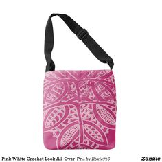 Pink White Crochet Look All-Over-Print Tote Bag