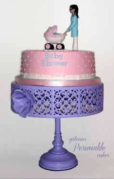Baby shower cake with mommy-to-be and stroller