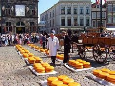 DUTCH CHEESES A Cheesemarket in Gouda EDAM, GOUDA, LEERDAMER, MAASDAM and many more, very famous hard cheeses mostly from Dutch.