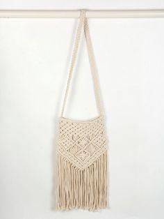 Beige Fringe Crochet Cross Body Bag