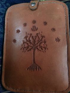 Kindle cover hand tooled leather white tree of Gondor