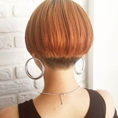 Shaved Bob, Shaved Nape, Short Stacked Bobs, Angled Bobs, One Length Bobs, Shaved Hair Women, Edgy Bob, Stacked Bob Hairstyles, Straight Bangs