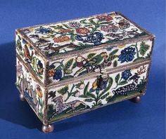 Box, 17th century  Wooden box; covered with linen, plain weave; beaded with silk, linen, and glass beads; embroidered with silk and gilt-metal-strip-wrapped silk laid work and couching; silver hardware 21 x 31 x 17.5 cm (8 1/4 x 12 1/4 x 6 7/8 in.)
