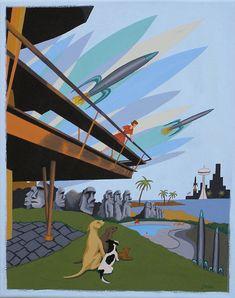 Mitte Jahrhundert Modern Eames Retro Limited Edition Print Aus Original  Gemälde Architektur Hund Raketen