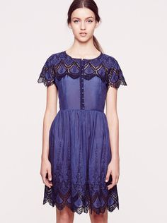 COLLETTE BY COLLETTE DINNIGAN - Ibiza Embroidered Short Sleeve Dress - Navy  $379.00