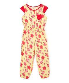 Yellow Floral Jumpsuit - Toddler & Girls